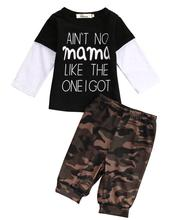 Cute Baby's Clothing Sets Long Sleeve Patched T-Shirts + Army Green Camouflage Pants 2Pcs Newborn Baby Boys Kid Fashion Clothes(China)