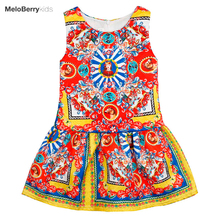 Summer flower girl red dress girls designer clothes pageant dresses babies party dresses easter dress for age 3 4 5 6 7 8 9 10