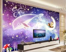 3d room wallpaper custom mural non-woven 3 d fairy tale world whale brown bear children room photo 3d wall murals wallpaper