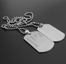 2 Pieces Mens Matte Military Army Stainless Steel Blank Double Dog Tag Necklace Charm Pendant Necklace Ball Chain For Men Women