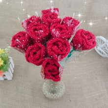 Pure Handmade Creative Knitted Crochet Artificial Red / Blue Rose Flowers for Lovers Festival /birthday Gifts 1pc(China)