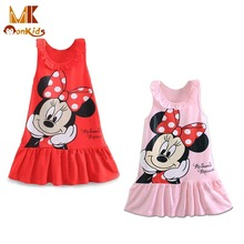 MK 2017 New Summer Baby Girls Dresses Kids Girl Clothing Sleeveless Lovely Princess Cartoon A-Line Mini Dresses Red Pink 2 Color