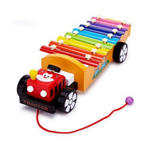 Wooden Drawable Tractor Knock Piano Kids Children Musical Instrument Toddler Toys 8 Note