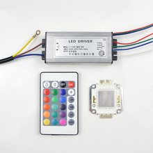 Full Watt Integrated Chip 20W 30W 50W LED RGB Light /Power Supply Driver / 24Key Remote Controller For Outdoor Floodlight DIY(China)