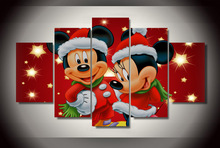 Wall Art Painting Home Decor Picture Modular Painting Mickey Mini Mouse Christmas Children's Room Print Canvas Wall
