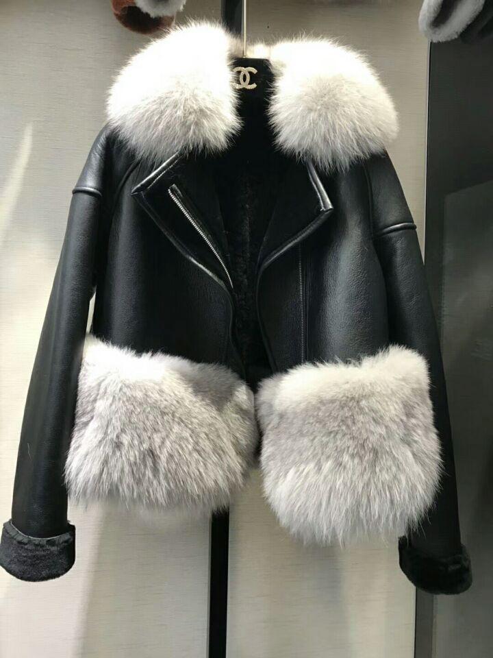 genuine sheep leatherskin jacket fox fur cooar coats (33)