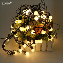 ZINUO Outdoor 5M 50pcs Ball Led Christmas String Light Black Wire Fairy String Garland Ball Wedding Lamps Decoration 110V 220V