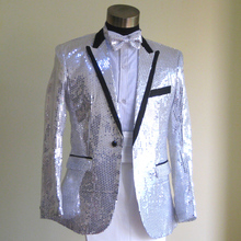 Plus Size White Sequins Suit with pants Medieval Renaissance singer performance Blazer costume S-3XL
