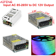 AIFENG Lighting Transformers AC85-265V To DC12V 1A 2A LED Driver Switch Power Supply Lighting Transformers 12W 24W For LED Strip