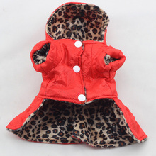 Pets Dogs Leopard Pattern Warm Coat Dress Puppy Hoodies Both Sides Wear clothing for Dogs Outerwear D9440(China)