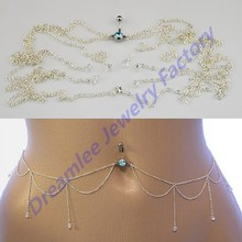 10pcs/lot New Arrival Teal Gem Dangle Navel Chain Stud Sexy Belly Chain Button Rings Body Navel Piercing Jewelry