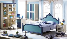 6606# Modern colorful bedroom furniture set bed nightstand wardrobe desk 4pieces furniture set(China)