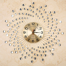 Simple fashion wrought iron wall clock with diamond/ Creative mute quartz clock/ European sitting room large wall clock