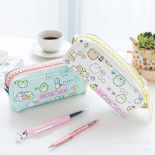 Kawaii PU Pencil Case School Stationery Big Zipper Pencil Bag Cosmetic Storage Bag School Supplies Large Capacity(China)