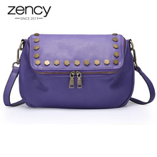 2017 NEW Italian Real Genuine Leather Ladies Handbag Rivets The Women's Messenger Bags for Women Cross Body Bag Satchel Purse(China)