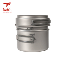 Keith Titanium Pots Pans Bowls With Folding Handle Cook Camping Hiking Picnic Cookware Utensils(China)