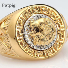 Fatpig Jewelry Fashion Rings for Men 2017 Cool Lion Eagle Star Gold-color Ring Jewelry Size 8-12 Men Rings for Wedding