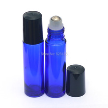 3pcs Blue Glass Bottle Roll On Empty Fragrance Perfume Essential Oil Bottle Roll-On Black Plastic Cap 10ml Bottle(China)