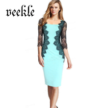 Women 2016 Elegant Vestido De Renda Wear to Work Business Office Career Bodycon Sheath Lace Pencil Dress Beautiful Sexy Clothes