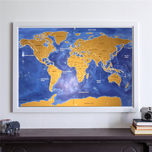 Drop shipping Deluxe home Travel Scratch Map Vintage gold black poster Personalized World Map living room pub cafe painting