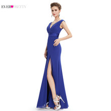 Long Royal Blue Prom Dress Ever Pretty 2017 EP08743 Women Pleat Sexy V-neck Empire Chiffon Formal Prom Dresses(China)