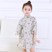 2017 autumn floral cotton robes flower girl party clothes kimono for little  children nightgown casual sleepwear breathable
