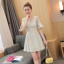 Cute Women dress Flare Sleeve Print Slim A Little Windy Place Dresses Pink Yellow 5865