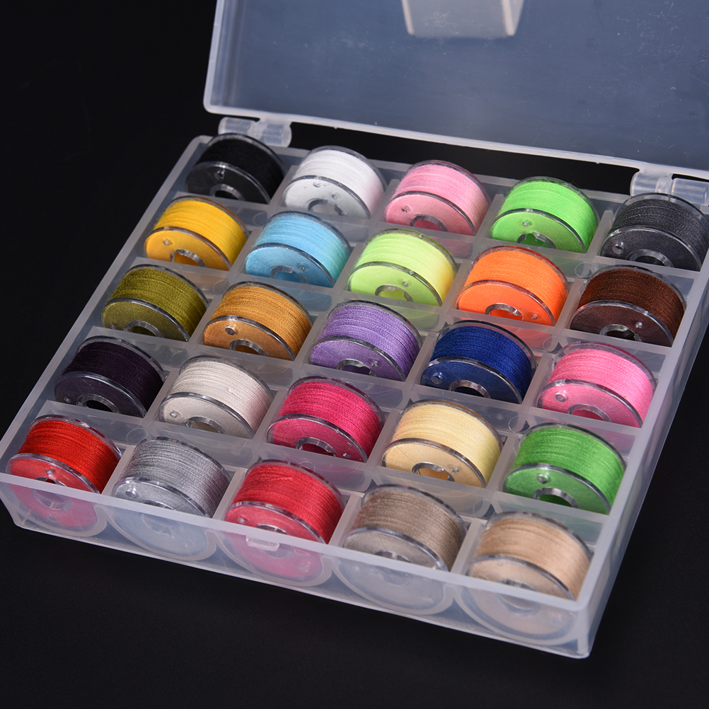 25Pcs/Set Colorful Empty Bobbins Sewing Machine Spools With Sewing thread Plastic Case Storage Box for Sewing Machine
