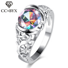 CC Vintage Rings For Women Colorful Hollow Stone Mystic Rainbow Creative Ring Wedding Engagement Bride Drop Shipping CC839(China)