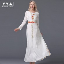 Euro Fashion High Quality Embroidery Floral Embellished White Color Maxi Dress Women Bohemian Vogue Sand Vestidos Long Sleeve