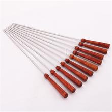 16.9in 43cm BBQ Fork Long Meat Flat Kebob Skewer set Wood BBQ Skewers 304 Stainless Steel Barbecue Grill Needle Wooden Handle(China)