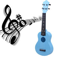 "Toy Musical Instrument Professional 21"" Acoustic Ukulele Kids Learning Toy Children Christmas Birthday Gift Blue Fast Delivery(China)"