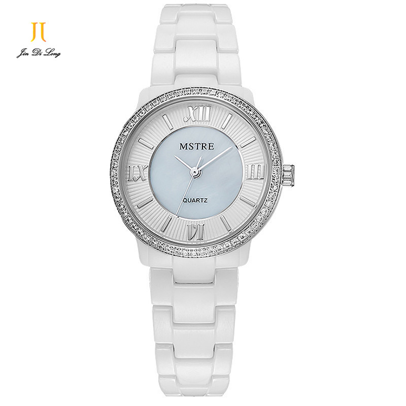 Women watches top brand luxury Quartz Watch Pearl Ceramic Dazzle Glory Diamond Sapphire Ladies Wrist Watches Waterproof Steel<br>