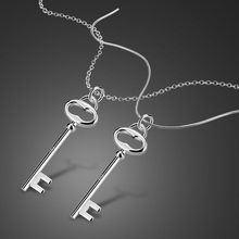 New silver jewelry female models 925 sterling silver key pendant necklace simple style solid silver necklace lady popular bijoux(China)