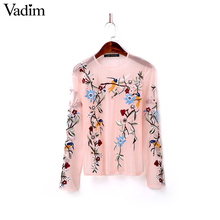 Women sweet flower embroidery mesh shirts sexy transparent long sleeve blouse o neck black pink casual tops blusas LT1589