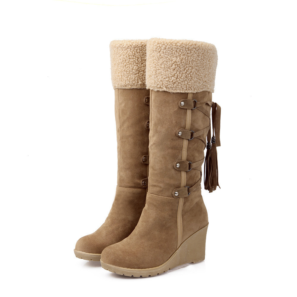 Plus Size 35-43 Mid Calf Boots Round Toe Wedge Shoes for Women Boots High Quality PU Leather Thick Warm Plush Winter Snow Boots<br>