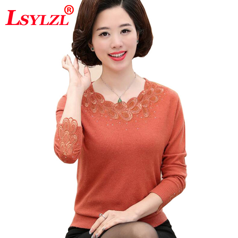 Spring sweater 2018 new Middle-aged Openwork O neck Sweater fashion Loose long sleeves Plus size 3XL winter Sweater B349