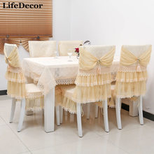 Quality ! dining table cloth tablecloth chair covers cushion fashion lace table cloth dining chair set