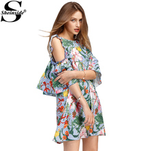 Sheinside Tropical Ladies Summer Dresses Sexy Open Shoulder Floral Stripe Women Dresses 2017 Cute Frill Mini Tunic Mini Dress