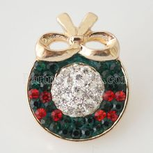 Snap Charm Holiday Ginger Interchangeable Jewelry Ginger Snap Button Rhinestone Christmas Decoration DIY charms KB4401