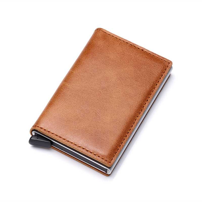 Coin Purses & Holders New Men Double Aluminum Cow Leather Travel Card Wallet Rfid Credit Card Holder Pu Leather Unisex Security Metal Smart Purse 486 Convenience Goods Back To Search Resultsluggage & Bags