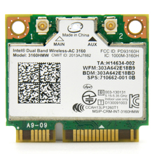 433Mbps 11ac Dual Band Mini PCI E WiFi Adapter with Bluetooth BT 4.0 HS Wireless Card For Intel 3160HMW for ASUS/DELL/ACER/Sony