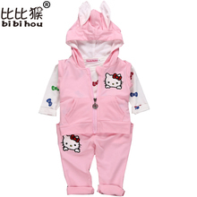 Bibihou Hello Kitty Baby Girls children clothes Suit 3pcs Hooded Jackets Coat + T shirt + Pants Kids Toddler Girl Clothing Sets