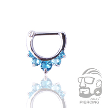 Aqua 5 Gems Nose Piercing Septum Stainless Steel Clicker Ring 1.2mm Shield Helix Nose Ring Jewelry(China)