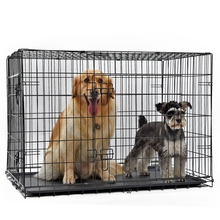 Products For Animals Pet Dog Iron Crate Double-Door Pet Kennel Collapsible Easy Install Fit Your Pets 4 Sizes Pet House(China)