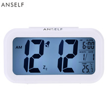 Anself LED Digital Clock Repeating Snooze Alarm Clock Light-activated Sensor Table Clock Backlight Time Date Temperature Display