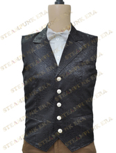 Free Shipping  Halloween Costume Black Jacquard Cloth Single Breasted Victorian Steampunk Waistcoat
