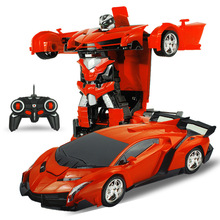 1:18 2In1 RC Car Sports Car toys Transformation Robots Models Remote Control Deformation Car RC Robots Children's Birthday Gif(China)