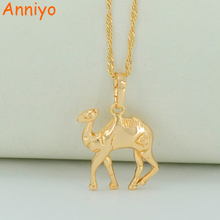 Anniyo Small Camel Necklaces for Women/Men Light Gold Color Little Camel Pendant Necklaces Animal Jewelry Gifts #033604(China)