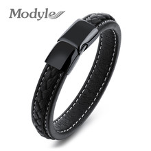 Modyle Fashion Men Genuine Leather Bracelet Stainless Steel Cool Bracelets & Bangles Male Punk